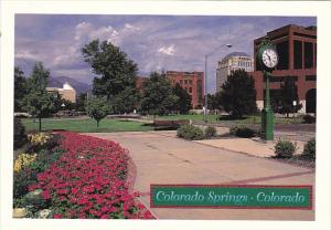 Colorado Colorado Springs Clock and Downtown