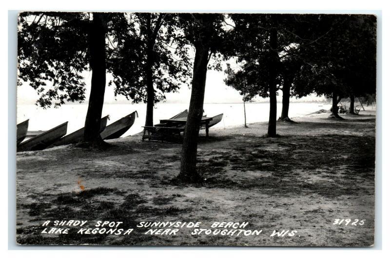 Postcard Shady Spot Sunnyside Beach Lake Kegonsa near Stoughton WI RPPC J3