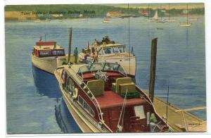 Tuna Boats Motor Launch Boothbay Harbor Maine linen postcard
