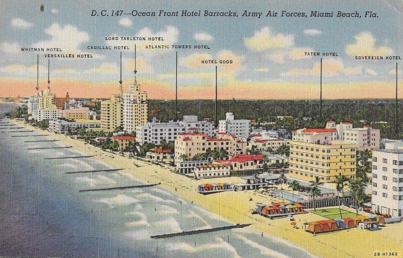Rare 1940s Postcard, Ocean Front Hotel Barracks, Army Air Force.. Miami, FL