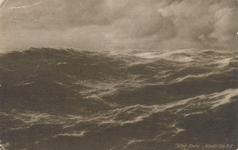 Wind Storm Wild Waves and Ocean Surf Atlantic City NJ New Jersey - pm 1910 - DB