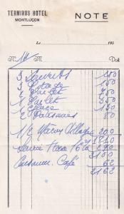 Terminus Hotel Montlucon France 1955 2x Receipt Ephemera