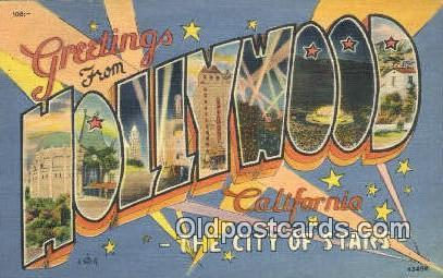 Hollywood, California USA Large Letter Town Vintage Postcard Old Post Card An...