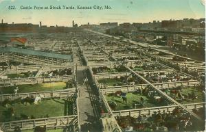 Stock Yards, Kansas City, Missouri MO Bird's Eye View Cattle Pens 1913 Postcard