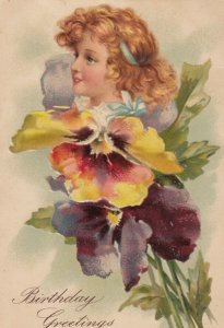 AS: BIRTHDAY, PU-1908; Child's profile in a Colorful Pansies