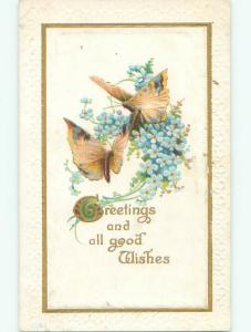 Pre-Linen BEAUTIFUL BUTTERFLIES WITH FORGET-ME-NOT FLOWERS k4594
