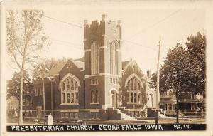 Cedar Falls Iowa~Presbyterian Church~Interurban Cars Stop Here~1913 RPPC