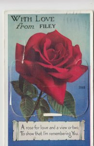 Yorkshire; With Love From Filey Novelty Foldout PPC By Valentines, 1958 PMK