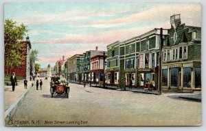 Littleton NHe~Vintage Touring Car on Main Street~H George & Son~Stores~c1910