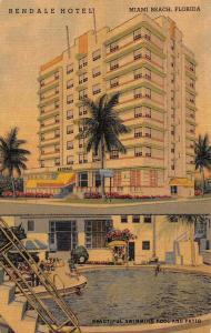 Miami Beach Florida Rendale Hotel Art Deco Linen Antique Postcard J48891