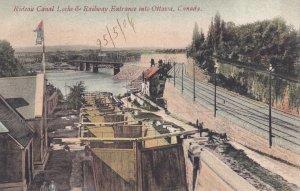 OTTAWA , Ontario, Canada, PU-1906 ; Canal Locks & Railway Entrance