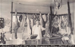 RP: Interior of Jackson's Meat Market , YOUNGSTOWN , Alberta , Canada , 1915