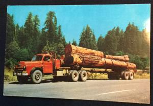 Lumbering Truck & Trees In the West US Unused Postcard LB