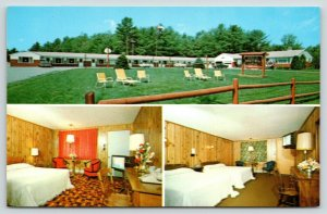 Sanford Maine~Bar H Motel~TV is ON in Guest Room~Lawn Chairs~1970s Postcard
