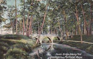 Maine Portland Greetings From Rustic Bridge Deering Park 1907
