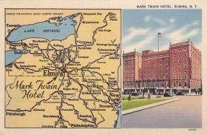 Mark Twain Hotel and Area Map - Elmira NY, New York - pm 1941 - Linen