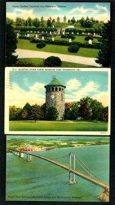 I49 (3) Pcs. Wilmington, Sunken Gardens - Memorial Bridge - Water Tower Linen