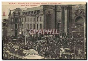 Old Postcard Nancy Funerals SE Cardinal Mathieu out of the cathedral TOP