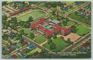 Evansville Indiana~Bosse High School~Enlow Football Field~Homes~1947 Linen
