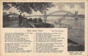 Mein liebes Bonn am Rhein River Bridge Boats Rheinbrucke Postcard