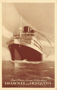 LP58   Ship Vintage Postcard Steamer Shawnee and Iroquois Clyde Mallory Lines