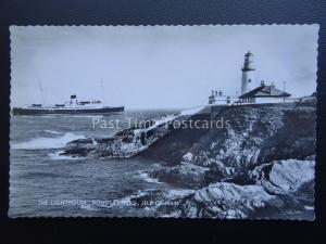Isle of Man DOUGLAS HEAD The Lighthouse & Steam Ferry c1950's RP PC by Valentine