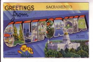 Greetings Sacramento, Large Letters with CALIFORNIA Scenes, State Capital, Fl...