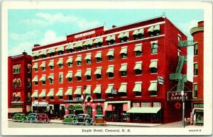 Concord, New Hampshire Postcard EAGLE HOTEL Building / Street View / 1945 Cancel