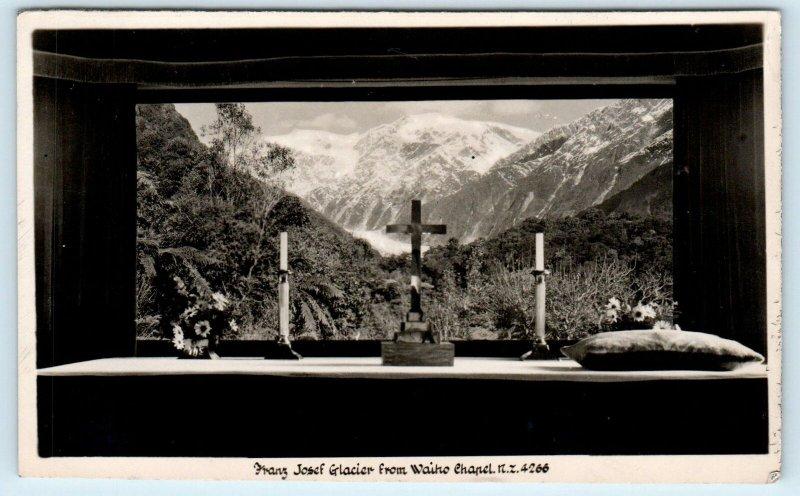 RPPC WAIHO, NZ New Zealand    FRANZ JOSEF GLACIER from  Chapel  c1940s Postcard