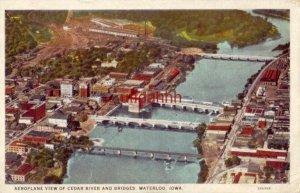 AEROPLANE VIEW OF CEDAR RIVER AND BRIDGES, WATERLOO, IA.