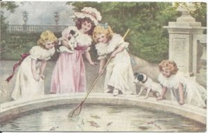 Fishing in the fountain 4 Girls with Puppies Netting Gold Fish Sweet Victorian