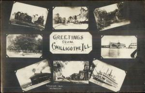Chillicothe IL Multi-View Including RR Train Depot c1910 Real Photo Postcard