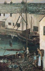 Cornwall Harvest Fishing Boat Painting Postcard