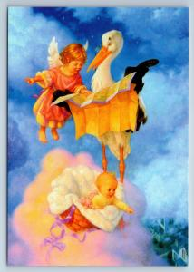 LITTLE ANGEL & Stork with Baby in Heaven CUTE New Unposted Postcard