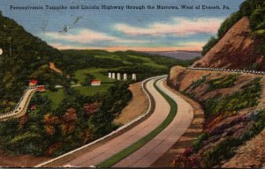 Pennsylvania Turnpike and Lincoln Highway Through The Narrows 5 Miles West Of...