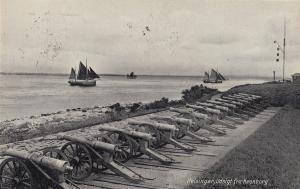 Helsinger Udsigt Fra Kronborg Military Cannon Antique Denmark Postcard
