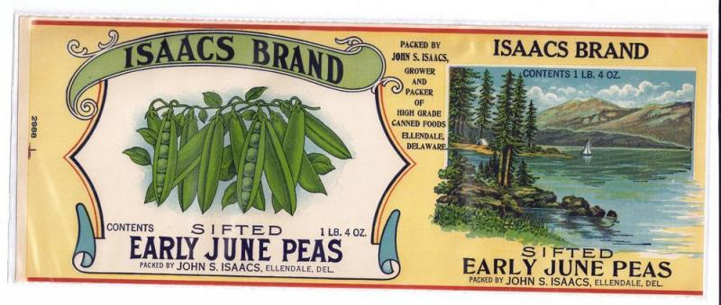 Isaacs Early June Peas Ellendale DE Vintage Can Label