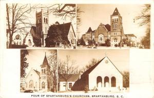 Spartanburg South Carolina~Multi Mini View~4 Churches~1943 Real Photo Postcard