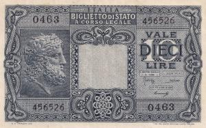 Italy Banknote Series 1940s Lieutenancy 10 Old Lire Note Money
