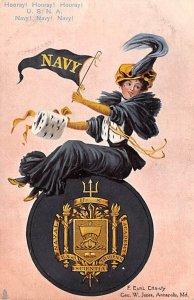 College Girl Post Card US Naval Academy, Annapolis, Maryland USA Unused