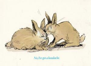 Rabbits Cant Make Love Lady Rabbit Has Headache Comic Humour Postcard
