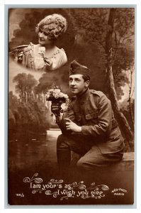 WWI RPPC I Am Your's As I Wish You Nine Romantic Real Photo Postcard pc2489