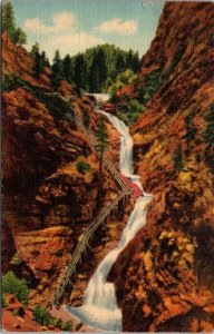 RARE Colorado Springs, CO, Seven Falls, PHOTO Cheyenne Canyon, Vintage Postcard