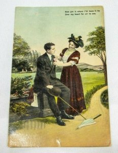 1909 posted POST CARD - Couple on In Park In Love Theochrom series No 1101