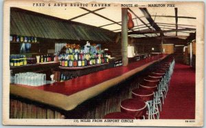 Merchantville, New Jersey Postcard FRED & ART'S RUSTIC TAVERN Bar Route 40 Linen