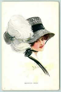 Artist Signed~Barrick Head~Lovely Brunette in Merry Widow Feather Hat~Black Gray