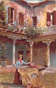 Spain Old Vintage Antique Post Card Painting of woman in courtyard Unused