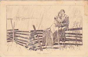 Artist Signed, Couple embracing in the rain, ´Who Cares?´, Alfred Schweizer...