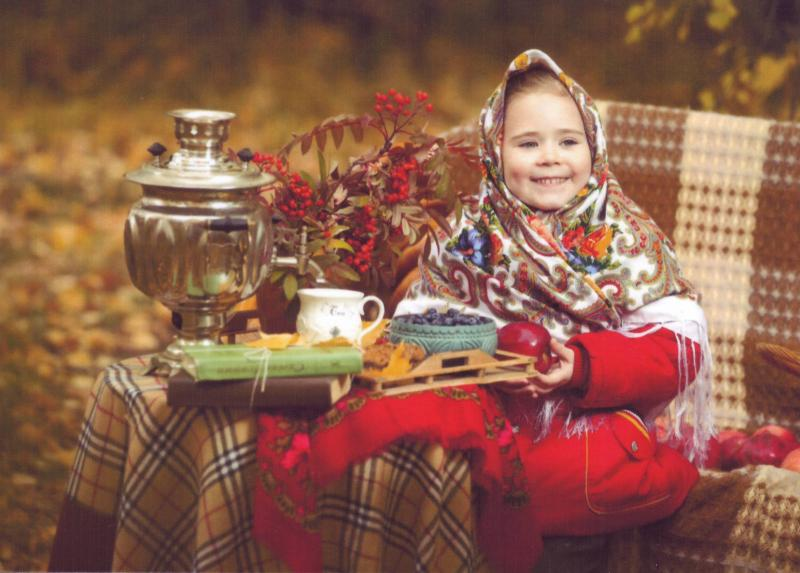 TEA PARTY TIME. LITTLE GIRL in SHAWL, SAMOVAR rowanberry books apple Modern