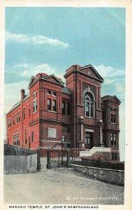 Canada Masonic Temple St John's Newfoundland postcard